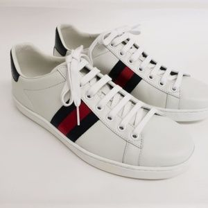NEW Gucci Ace Sneakers White Leather Size 37.5